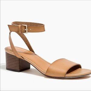 J. Crew Brown Block Heel Ankle Strap Sandals 6.5
